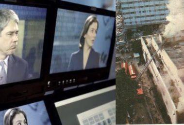 """Incêndio paralisou os trabalhos do """"Jornal Nacional"""" no Rio (Foto: Reprodução/TV Globo)"""