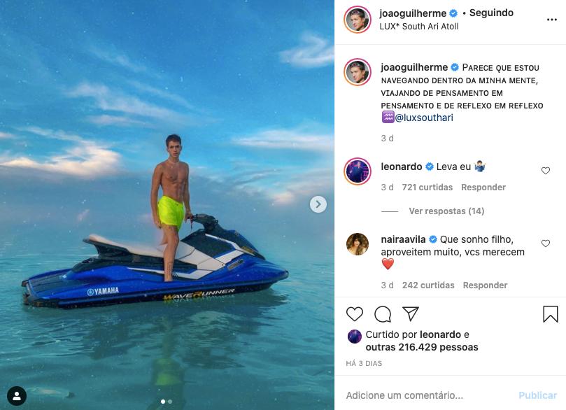 João Guilherme recebeu um recado dos pais (Foto: reprodução/Instagram)