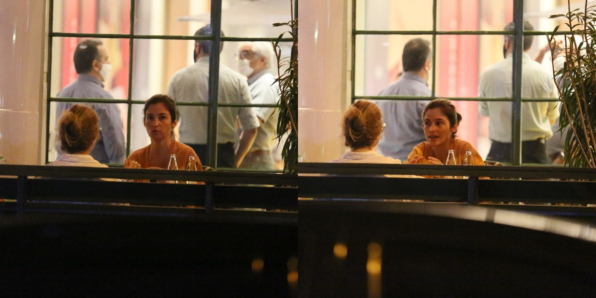 Lanza Mazza, que é estilista, foi flagrada durante jantar com amiga (Foto: AgNews)