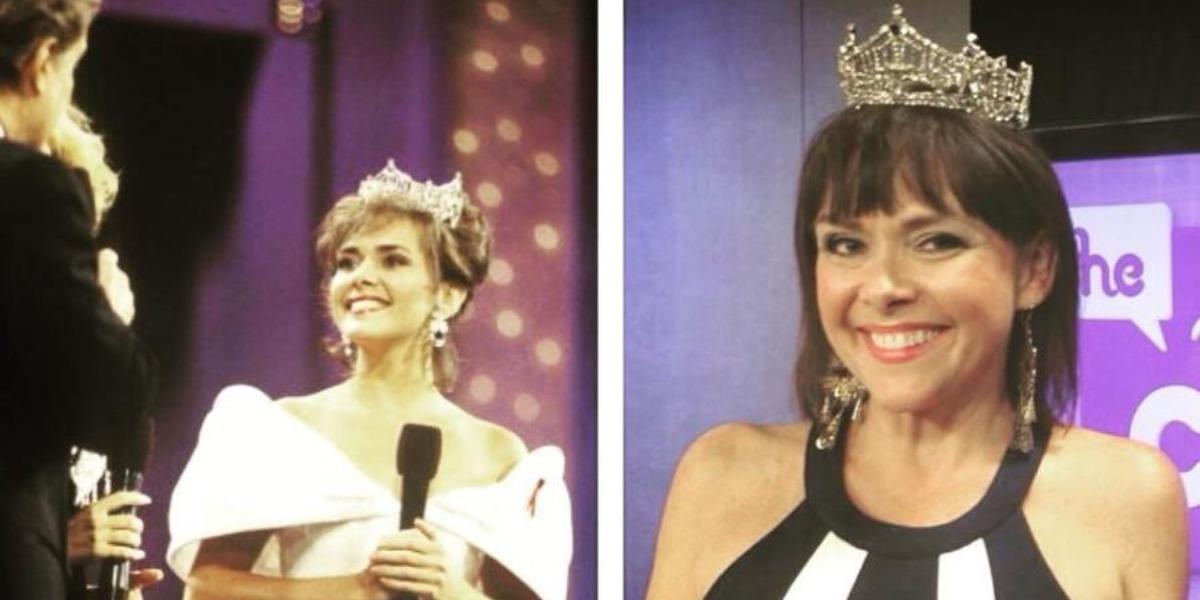 Leanza Cornet quando venceu o Miss America e em 2015 (Foto: Reprodução)