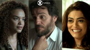Fotomontagem com imagens de Leila, Caio e Bibi da novela A Força do Querer