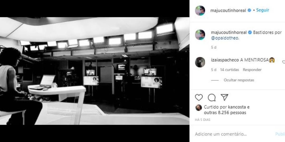 Maju Coutinho publicou registro nos bastidores da Globo e foi ofendida (Foto: Reprodução/Instagram)
