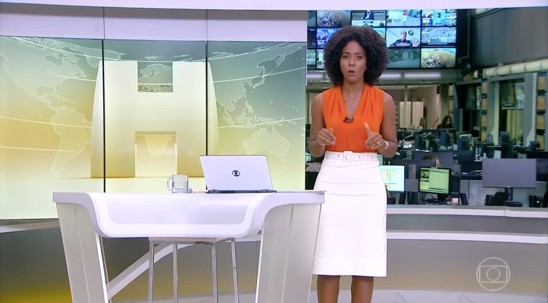 Maju Coutinho no comando do 'Jornal Hoje' (Foto: reprodução/Globo)