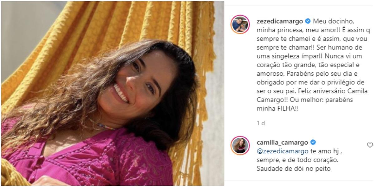 Camilla Camargo recebeu declaração de Zezé (Foto: Reprodução)
