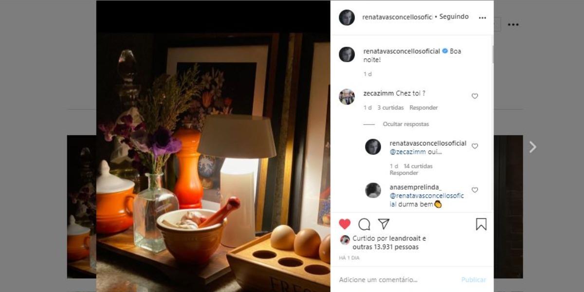 Renata Vasconcellos publicou foto de sua cozinha (Foto: Reprodução/Instagram)