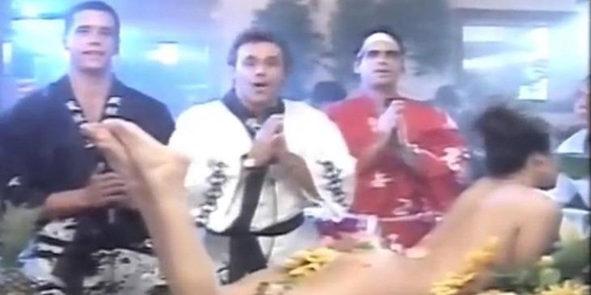 Márcio Garcia, Mateus Rocha e Oscar Magrini no polêmico episódio do sushi erótico (Foto: Reprodução/TV Globo)