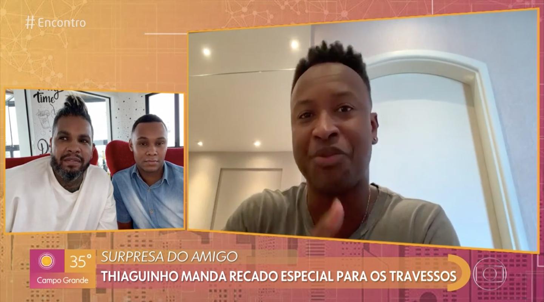 Thiaguinho entrou ao vivo no 'Encontro', de Fátima Bernardes, para se declarar (Foto: reprodução/Globo)