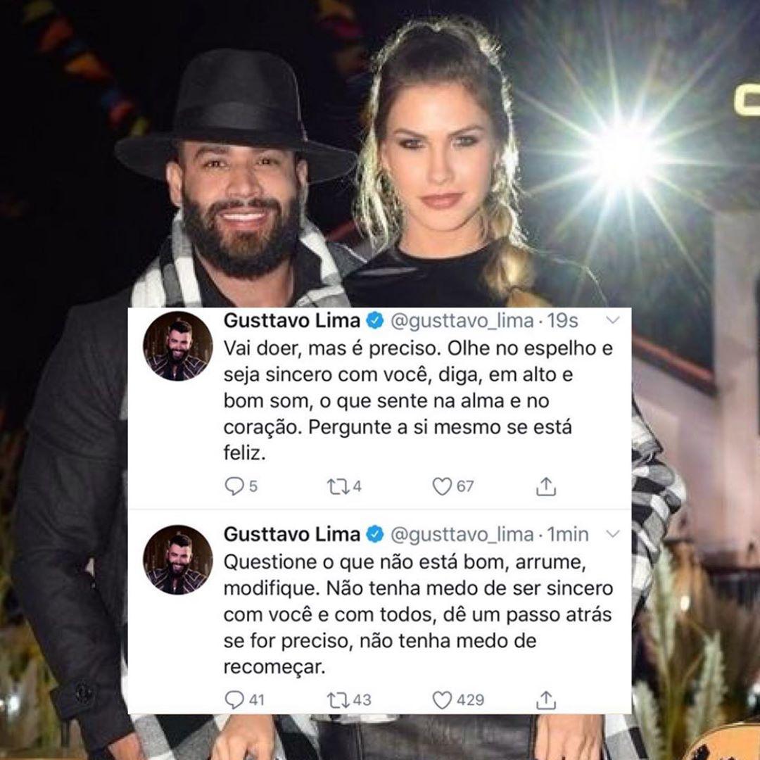 Gusttavo Lima se pronunciou sobre o fim com Andressa Suita (Foto: reprodução/Twitter)