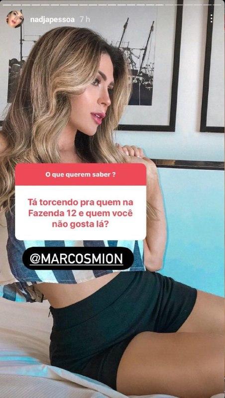 Nadja Pessoa citou Marcos Mion