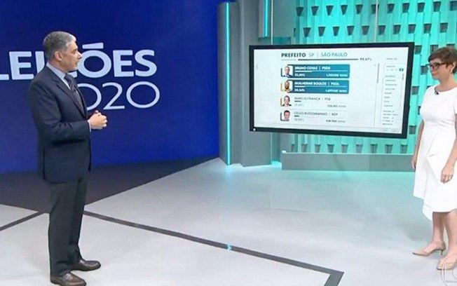 Cenário das eleições da TV Globo é criticado por internautas (Reprodução: TV Globo)