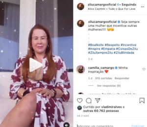 Camila Camargo demonstra apoio a Zilu (Foto: Reprodução)
