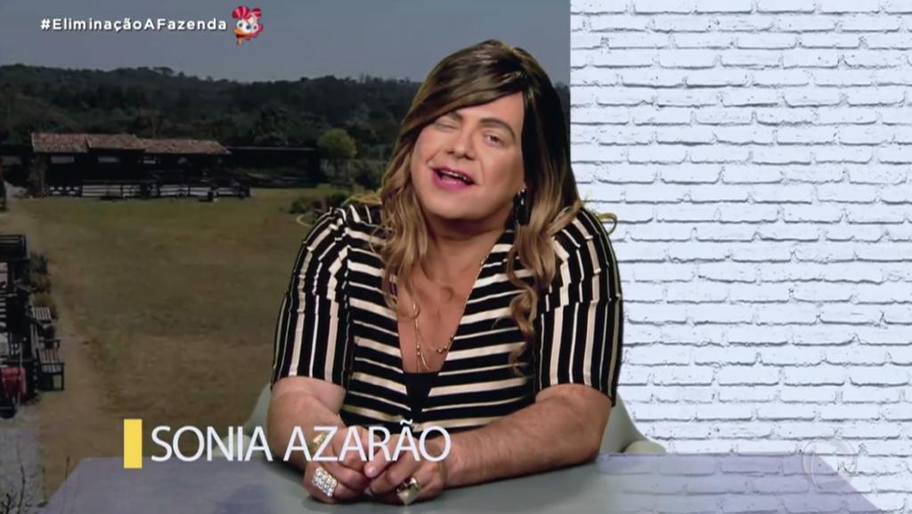 Sonia Abrão virou Sonia Azarão na Fazenda 12 (Foto reprodução: RecordTV)