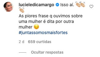 Luciele Di Camargo apoia mensagem de Zilu Camargo (Reprodução: Instagram)