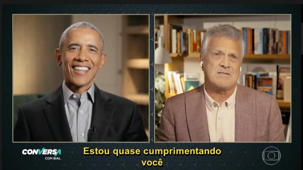 Bial entrevistou Barack Obama nas madrugadas da Globo (Foto reprodução)