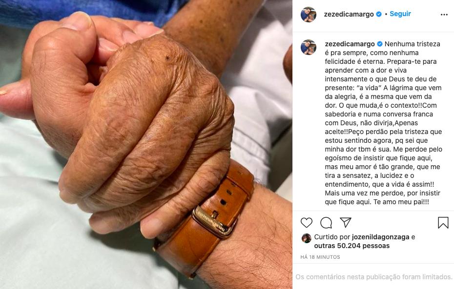 Zezé Di Camargo lamenta morte do pai, Seu Francisco (Reprodução)