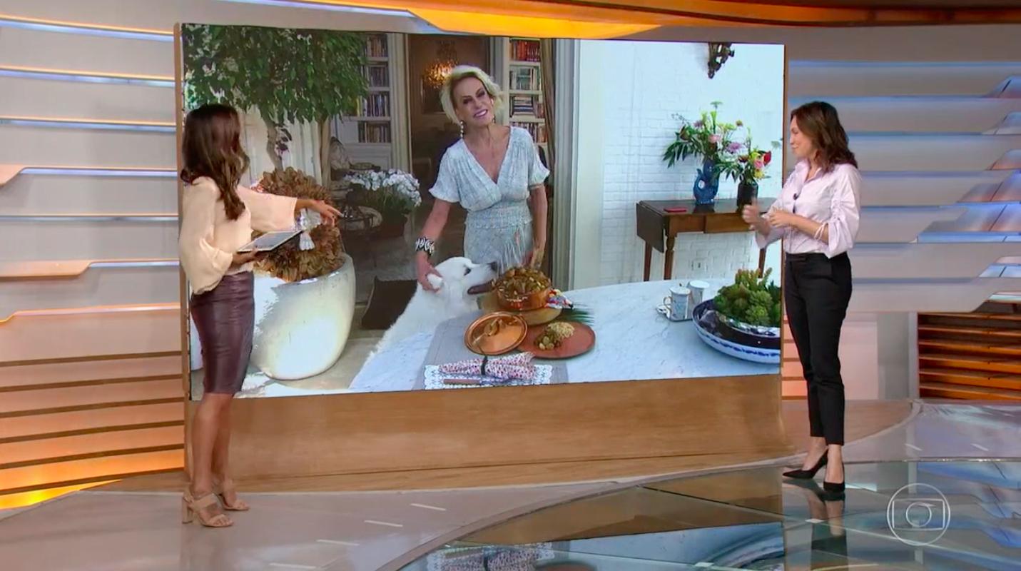 """Ana Maria Braga apostou em um vestido branco para o programa """"Mais Você""""desta quarta-feira, 25 (Reprodução)"""