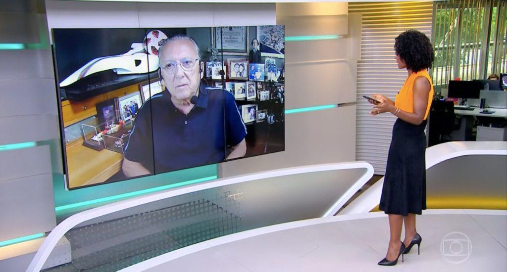Galvão Bueno e Maju Coutinho no JH (Foto: Reprodução)