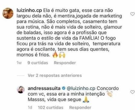 Andressa Suita concordou com um comentário feito por internauta de plantão (Foto: Reprodução)