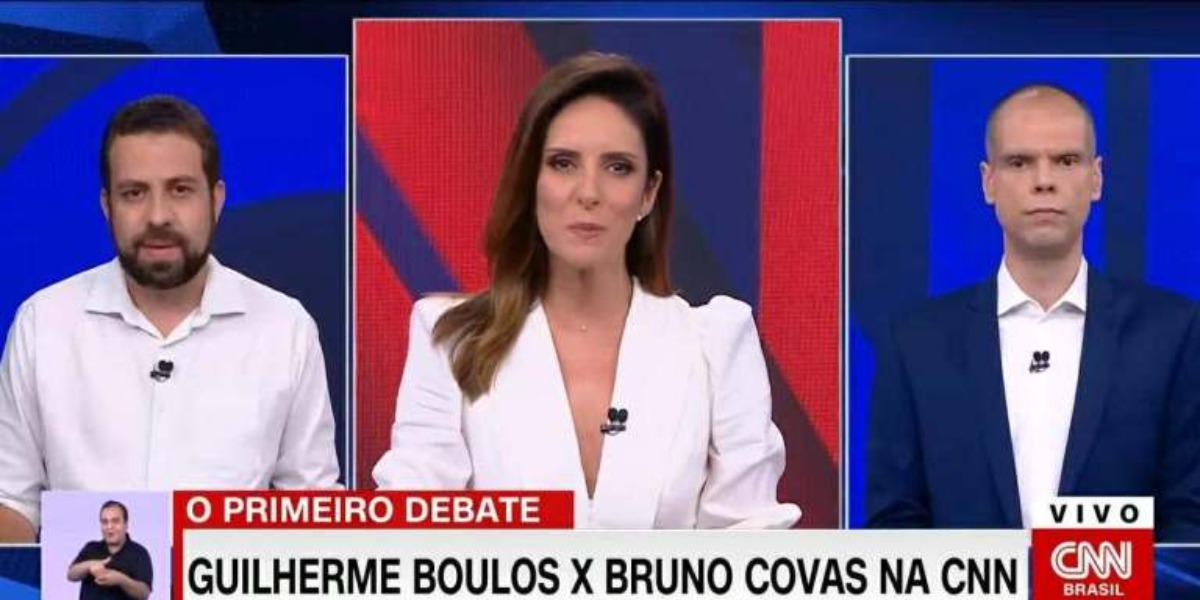Covas e Boulos no debate com Monalisa Perroni na CNN (Foto: Reprodução)