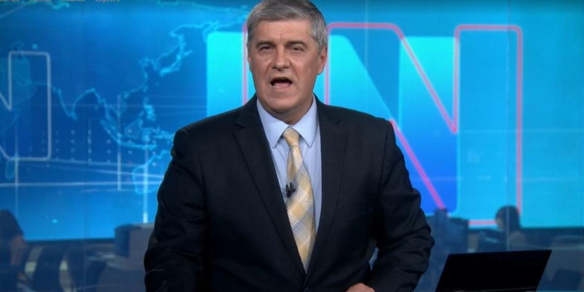 """Flávio Fachel na cobertura da vitória de Joe Biden no """"Jornal Nacional"""" (Foto: Reprodução/TV Globo)"""