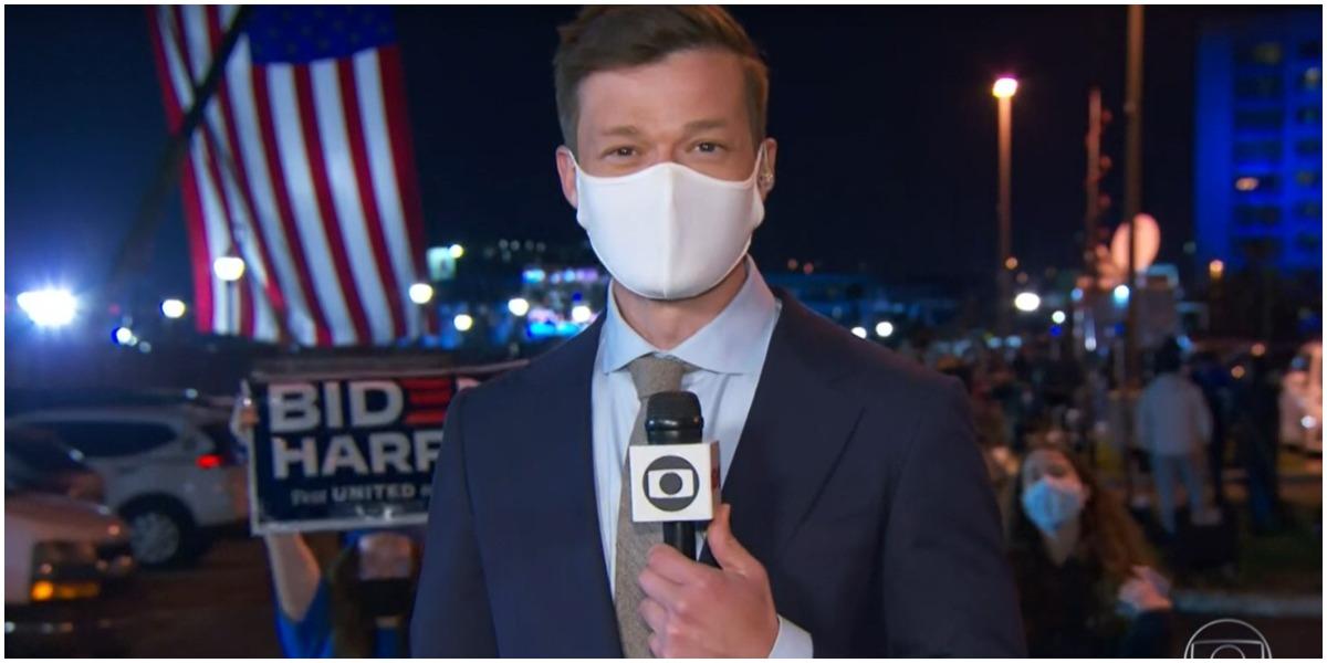 O jornalista Felipe Santana foi calado pelo Serviço Secreto dos Estados Unidos ao vivo na Globo - Foto: Reprodução
