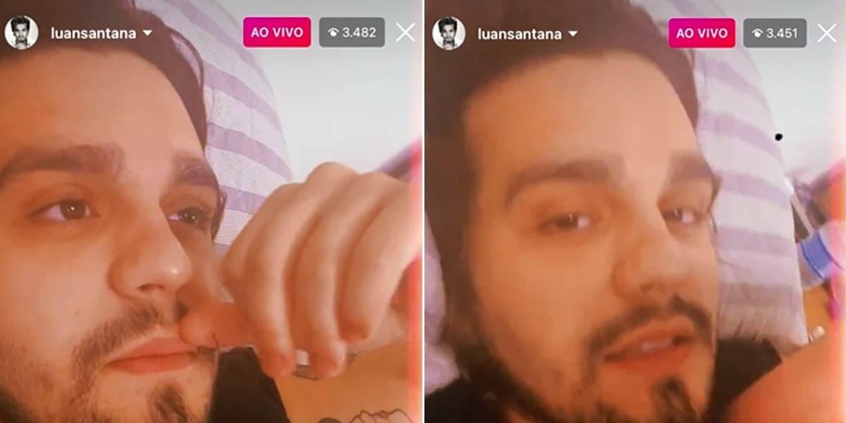 Luan Santana durante a live (Foto: Reprodução)