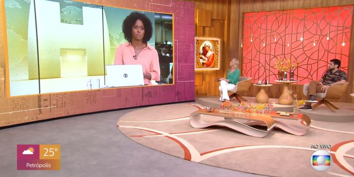 """Maju Coutinho entrou ao vivo no """"Encontro"""", com Fernanda Gentil (Foto: Reprodução/TV Globo)"""