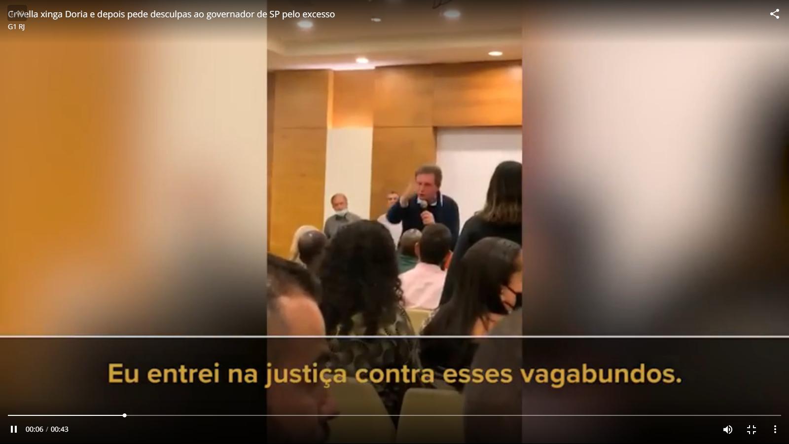 João Dória é xingado por prefeito do Rio de Janeiro (Reprodução: G1)