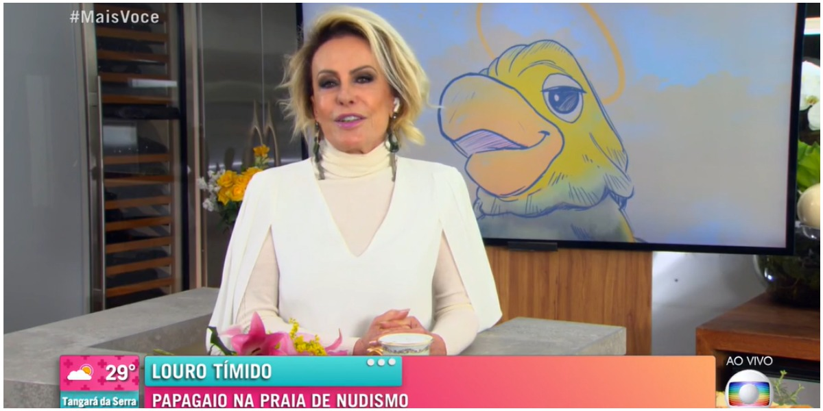 Ana Maria Braga recordou viagem a praia do nudismo junto de Louro José (Foto: Reprodução)