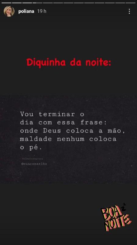 Poliana Rocha deu mais um recado no 'diquinha da noite' (Foto: Reprodução/ Instagram)