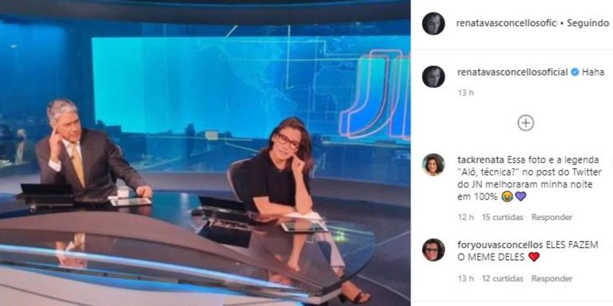 """Renata Vasconcellos debochou de falha no """"Jornal Nacional"""" (Foto: Reprodução/Instagram)"""