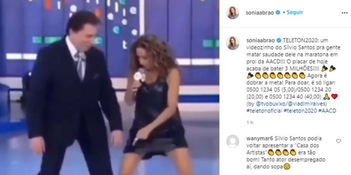 Silvio Santos em registro com Daniela Mercury no Teleton (Foto: Reprodução/Instagram)