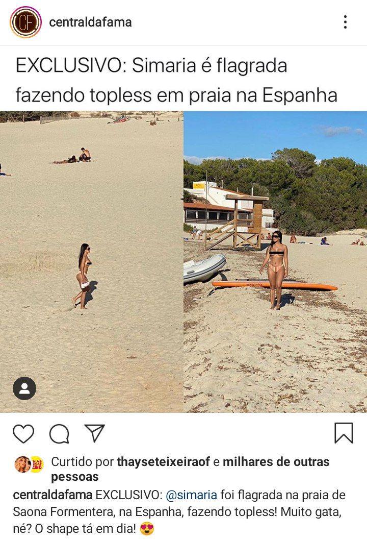 Simaria curtindo um dia de praia e fazendo topless (Foto: Reprodução/ Instagram)