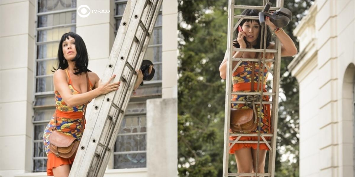 Fotomontagem de Tancinha em cima da escada em Haja Coração