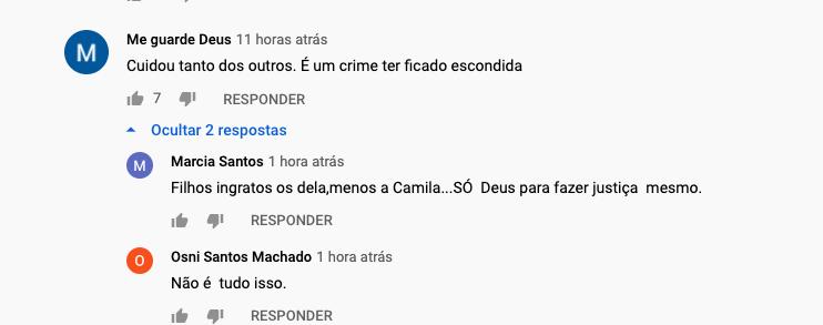 Comentários na publicação de Zilu Godói (Foto: Reprodução / Youtube)