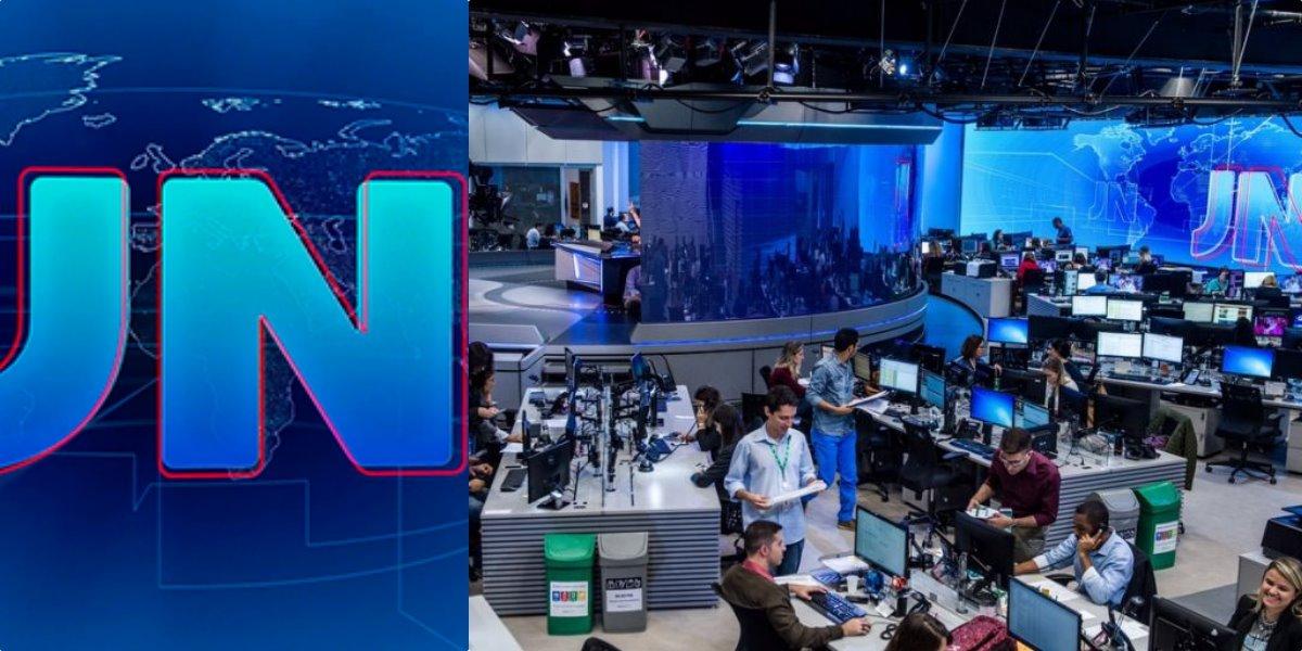 Logo do Jornal Nacional da Globo, ao lado da redação da emissora (Reprodução)