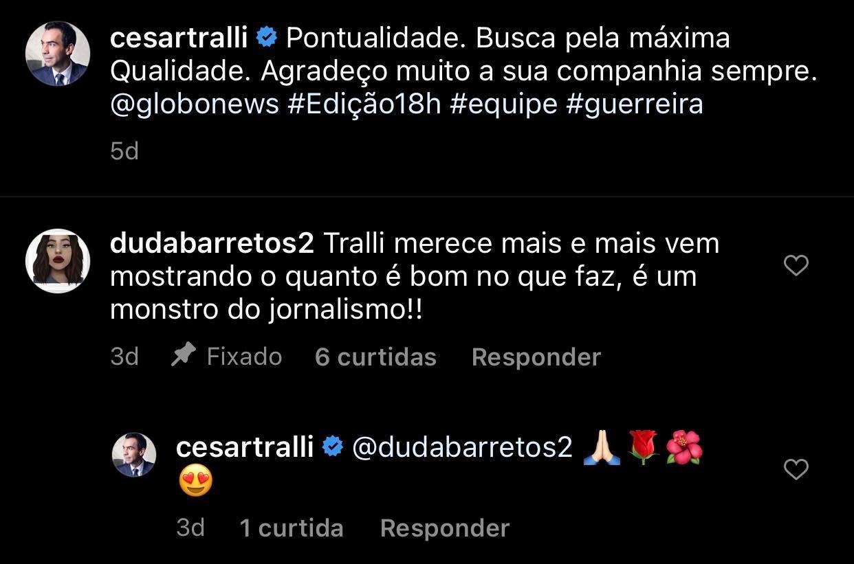 César Tralli recebeu elogio de fã (Foto: Reprodução/Instagram)