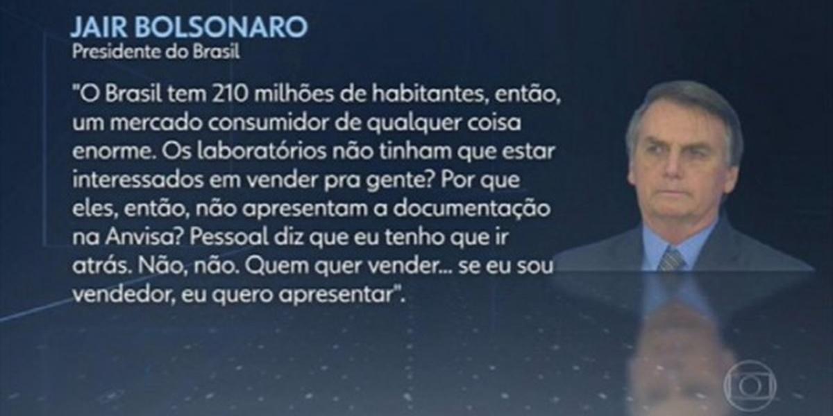 Declaração dada por Bolsonaro em entrevista a repórteres (Imagem: Reprodução)