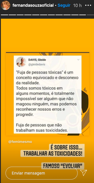 Desabafo de Fernanda Souza (Reprodução)