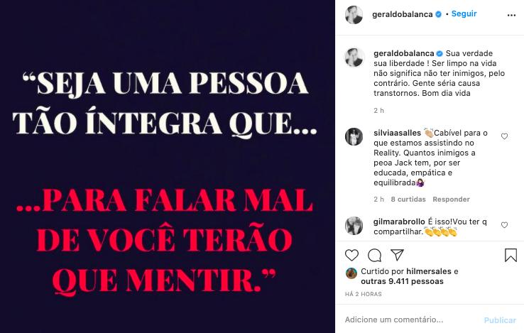 Publicação de Geraldo Luis nas redes sociais (Reprodução)