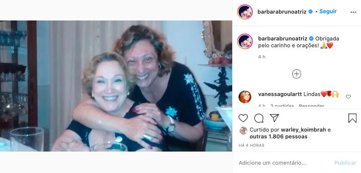 Bárbara ao lado da mãe, Nicette (Reprodução)