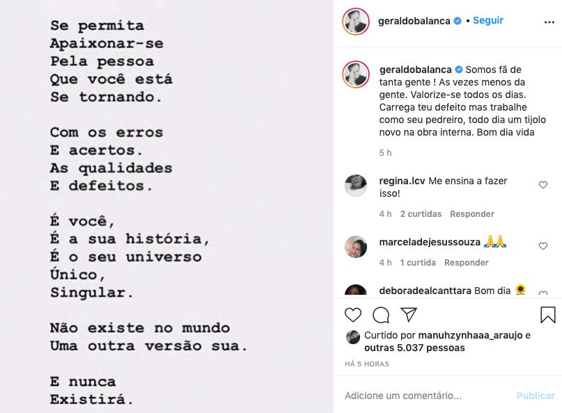 Publicação de Geraldo Luís no Instagram (Foto: Reprodução/Instagram)