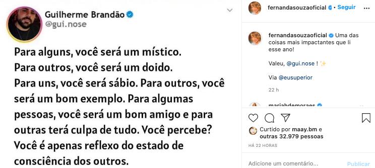 Fernanda Souza comentou sobre o reflexo de sua imagem nas redes sociais (Reprodução)