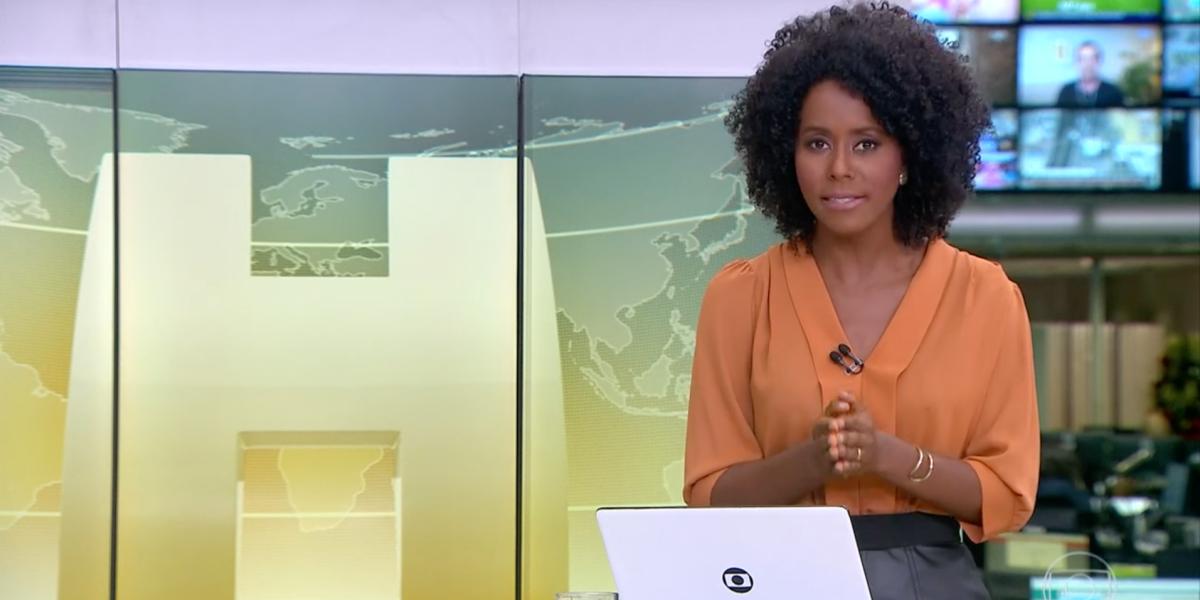 """Maju Coutinho abre """"Jornal Hoje"""" às pressas (Reprodução)"""