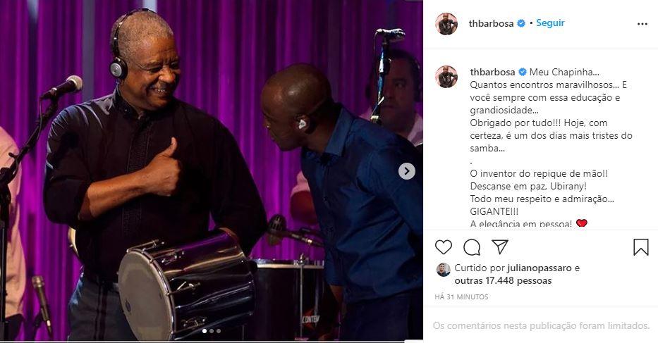 Thiaguinho faz homenagem para Ubirany que faleceu nesta sexta-feira, 11 (Reprodução)