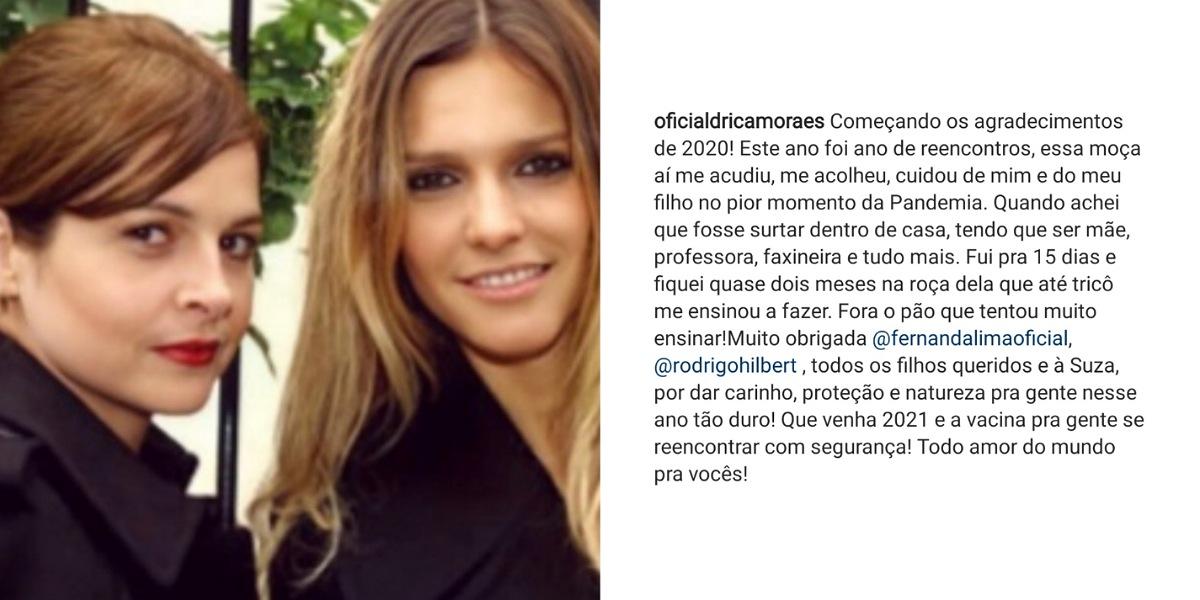 Drica Moraes faz agradecimentos para Fernanda Lima e Rodrigo Hilbert após passar 2 meses em sítio do casal - Foto: Reprodução/Instagram