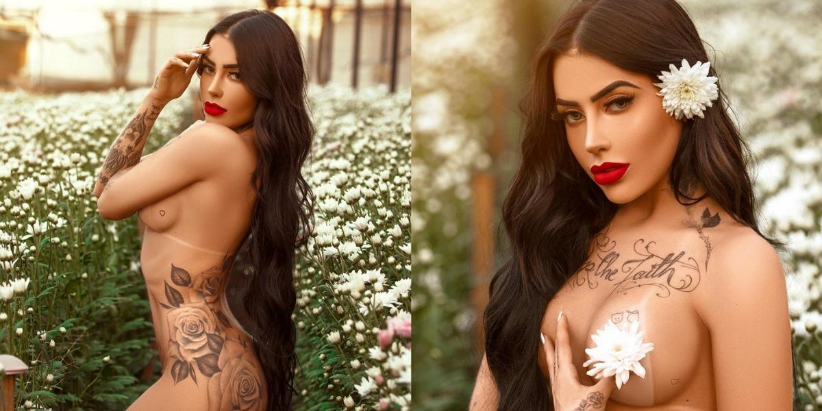 Cantora MC Mirella aparece sem roupas para fazer divulgação de nova música (Foto: Reprodução/Mari Araujo)
