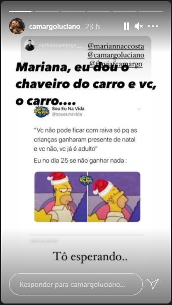 Luciano Camargo expõe que filho quer presente de Natal (Foto: Reprodução)