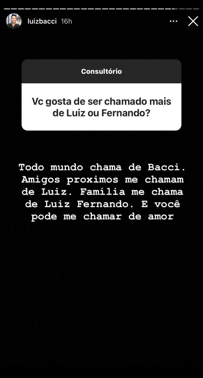 Luiz Bacci responde questionamento sobre sua vida íntima e revela detalhes nas redes sociais (Reprodução: Instagram)