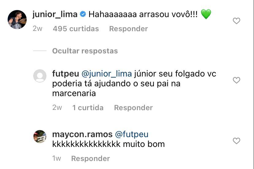 Junior é criticado por internauta em publicação do Xororó e cantores se calam (Reprodução: Instagram)